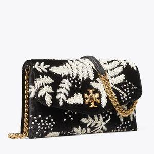 {Tory Burch} Kira Embroidered Velvet Black Bag